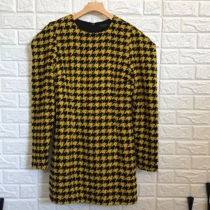 HoH Revolve Wool yellow houndstooth dress
